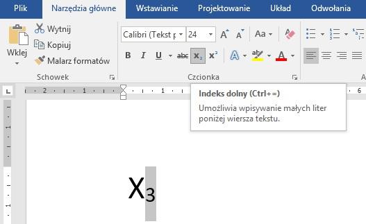 Jak zrobić w Wordzie indeks dolny - screen